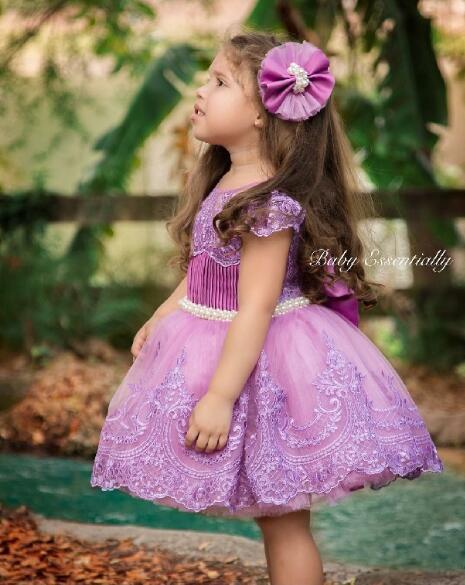Настоящая фотография фиолетовый платье для девочек бисера Кружева Бальные платья