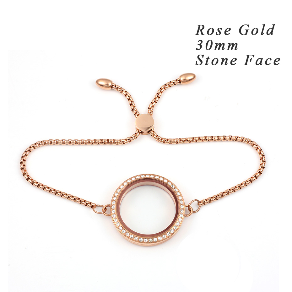 Carvort Плавающие Подвески прозрачный стеклянный медальон с камнем браслет 316L из нержавеющей стали крученый винтовая подвеска с регулируемой цепочкой - Окраска металла: 30mm rose gold stone