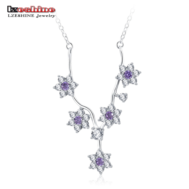 LZESHINE 925 Sterling Silver Flowers Purple CZ Chain Necklaces & Pendants  for Women Wedding Silver Jewelry PSNL0014-B