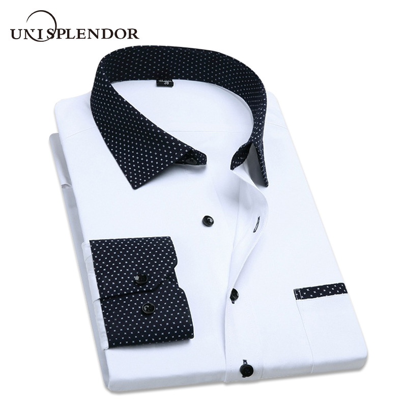 Plus Size 4XL 2019 Pure Colour Dress Camicie da uomo Manica lunga Slim Fit Shirt Moda Business normale Abbigliamento per uomo YN264