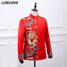 Red Embroidery Fashion slim male Chinese style stand collar wedding blazer Party Prom Host stage show costumes(China)