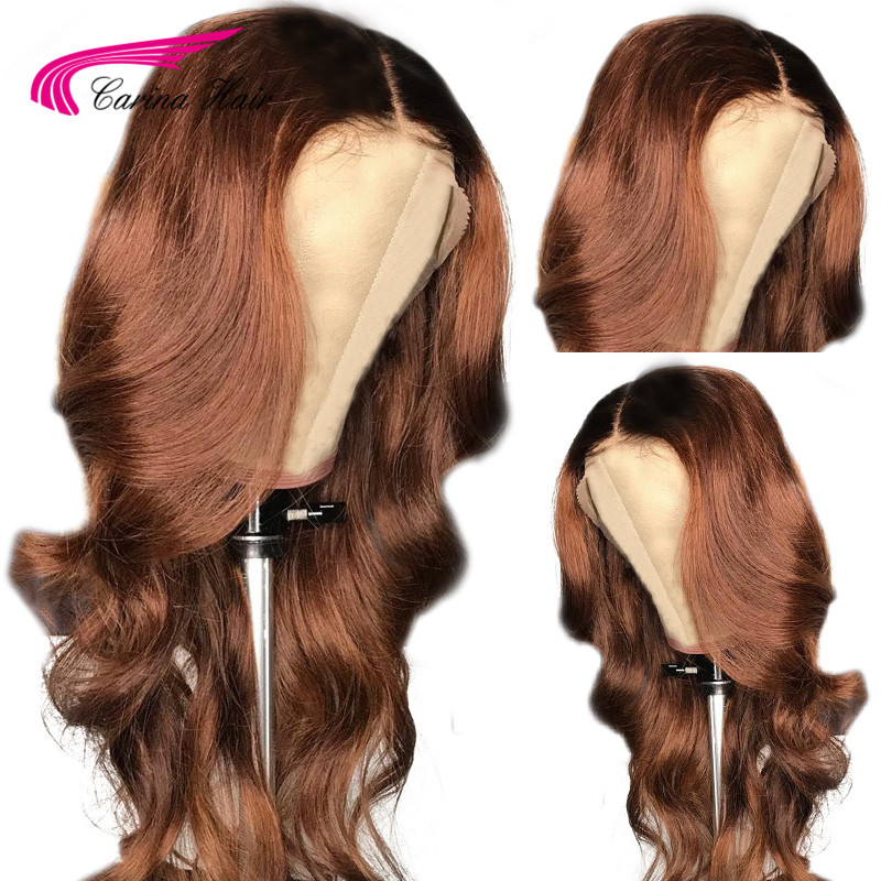 Carina 360 Lace Front Wigs with Baby Hair Indian Body Wave Remy Human Hair Ombre Color Wigs Pre Plucked Hairline Bleached Knots