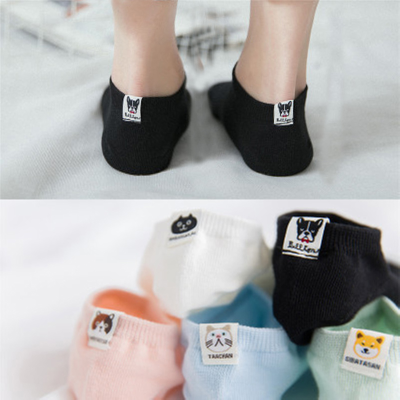 2018 New Fashion Summer Spring Cute Cartoon Pug Shiba Inu Women Socks Cat Dog Bulldog Animal Ankle Socks Casual Soft Comfy Sox
