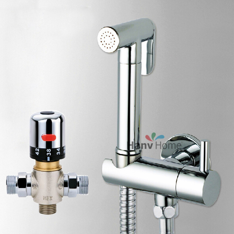 Thermostatic Mixing Valve &Brass Shattaf Bidet Sprayer Shower Set Spray Douche kit & Brass Valve Temperature Thermostatic mixer all brass handheld bidet douche shattaf spray kit with shut off valve