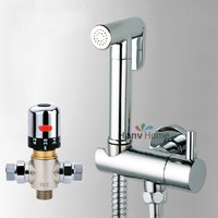 Thermostatische Mengkraan & Messing Shattaf Bidet Sproeier Douche Set Spray Douche kit & Messing Valve Temperatuur Thermostatische mixer
