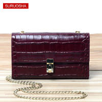 100% Genuine Crocodile Clutch Women Wallet Portable Multifunction Long Wallets Lady Party Clutch Gold Chain Shoulder Bags