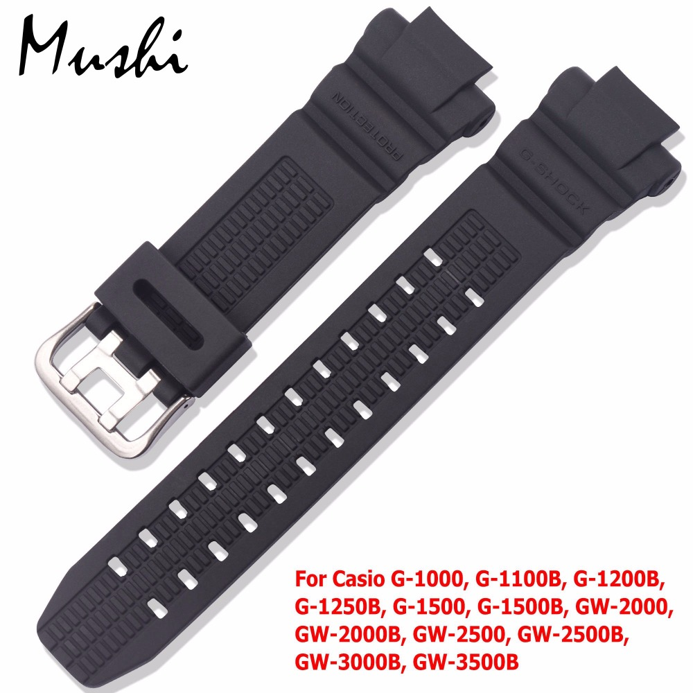 Watchband for Casio GW-3500B GW-3000B GW-2000 Sport Watch Band Black Soft Silicone Rubber Pin Buckle Strap for Man Bracelet+Tool ��лектронные часы casio sport prw 3500 1e black