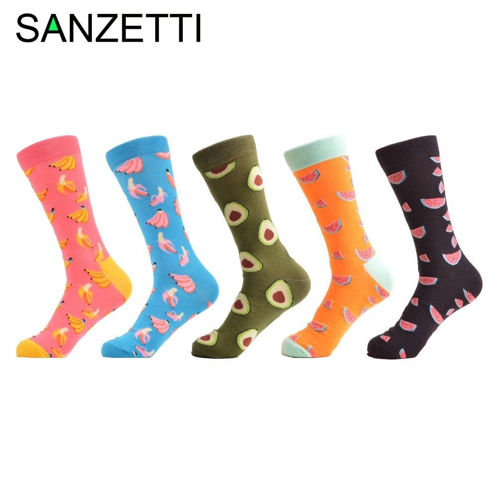 SANZETTI 5 pair/lot Colorful Mens Combed Cotton Socks Watermelon Banana Pattern Casual Crew Socks Happy Party Dress Crazy Socks