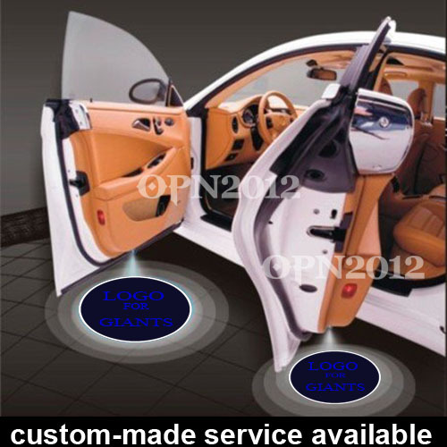 ФОТО 2 x Car Door Step Courtesy Welcome LED Logo Light Laser Projector Ghost Shadow Emblem For New York GIANTS NFL Football #1164