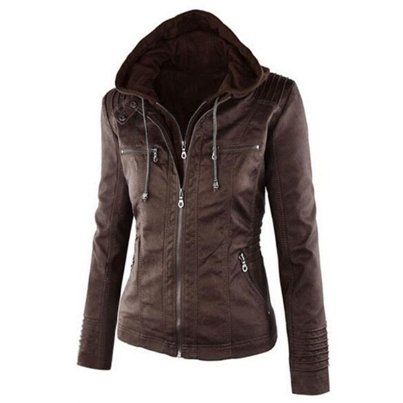 NEW 2019 Moto Jacket women Zipper coat Turn Down Collor Ladies Outerwear faux leather PU female Jacket Coat