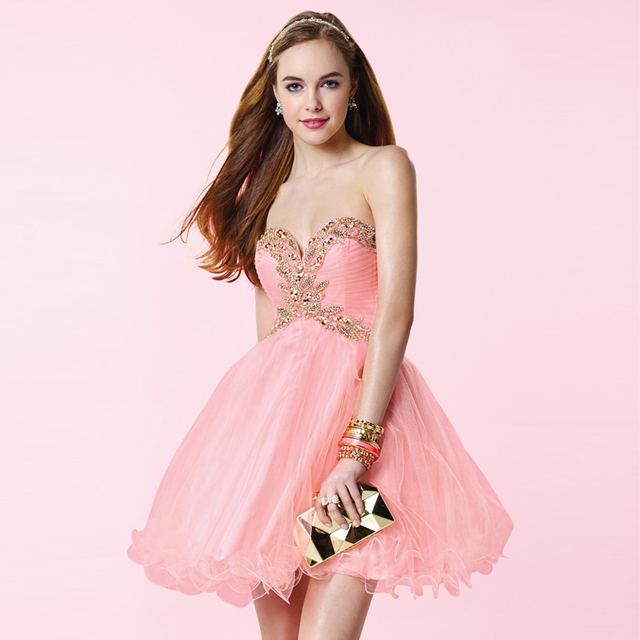 aba5eb2157f8 Hot Selling Empire Waist Ball Gown Sweetheart Off the Shoulder Organza  Cheap Short Pink Prom Dresses with Rhinestones