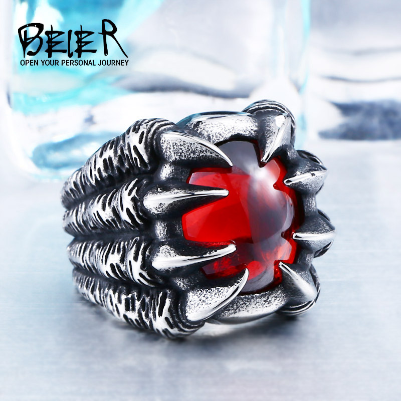 High Qiuality Heavy Metal Dragon Claw Ring CZ Zircon Exaggerated Personality Jewelry BR8-046 brand jewelry creative new flower can turn cactus exaggerated ring exaggerated fashion cute temperament ring