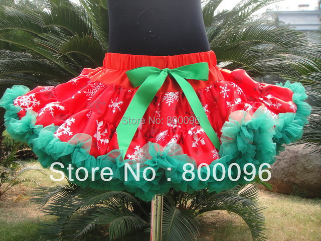 princess children tutu kids red and green bow for girl tutu wholesale pettiskirt tutu PETS-122