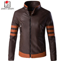 John S Bakery Brand Fashion Men Wolf Irrigation Quality Leather Jackets Size M 5XL PU Leather