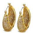 DC1989 Luxury U Shape Women Drop Earrings Simulated Cubic Zirconia Paved Holiday Party Jewelry Rhodium Gold Plated Lead Free