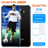 Oukitel U18 5.85 Full Display Mobile Phone Android 7.0 MTK6750T Octa Core 4GB 64GB Fast Charge Dual Cameras Fingerprint Face ID