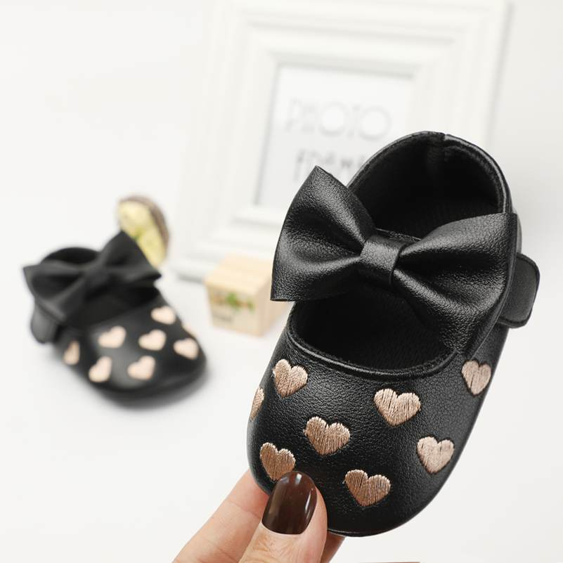 2018 Baby Brand Shoes PU Leather Love Baby Boy Girl Baby Moccasins Shoes Bow Soft Soled Skid-proof Footwear Crib Shoes