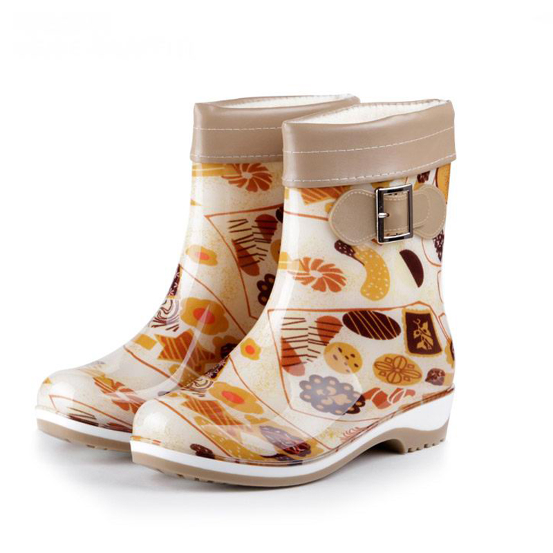 ФОТО Winter Spring Women Rainboots 2016 NEW Mid-Calf Boot Waterproof Rubber Rain Boots Shoes Woman Size Plus 36-41