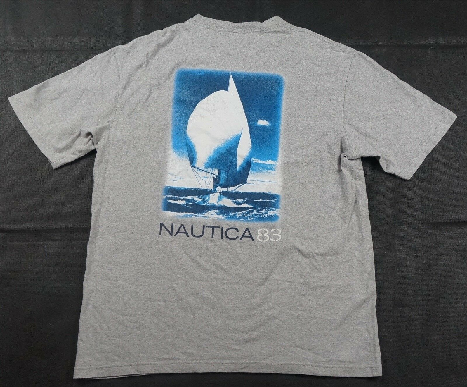 Rare Vintage NAUTICA N83 Spell Out Anchor Pocket T Shirt 90s Sailing Retro SZ M Brand T-Shirt Men 2019 Fashion
