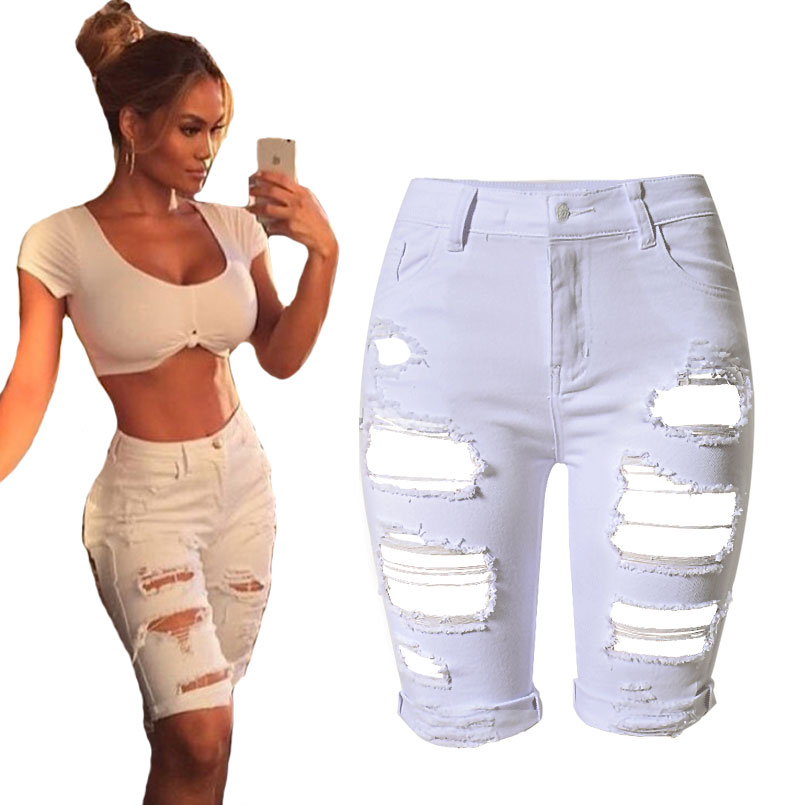 White Style Elastic Hole Half Fitness Crimping New Jean Shorts Women Casual Denim Feminino Summer BOHO Femme Sexy High Waist