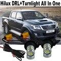 2X Coche LED T20 luz LED Para T.O.Y.O.T.A Hilux Vigo Pickup 2006-2014 Luces de Circulación Diurna DRL y Señales de Vuelta Delanteras Todo En uno