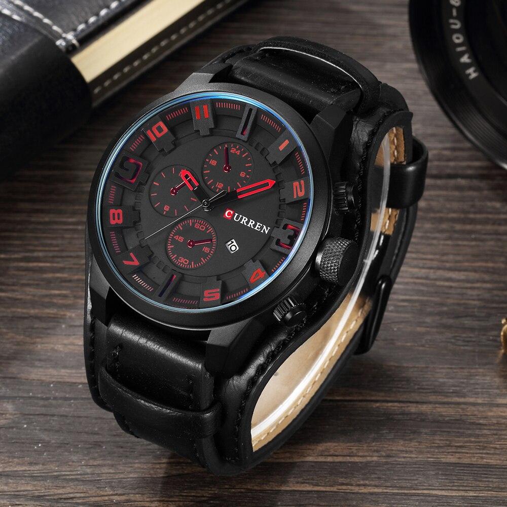 Prix pour Curren quartz montre hommes montres top marque de luxe noir montre-bracelet homme horloge hommes en cuir militaire quartz-montre reloj hombre 2017