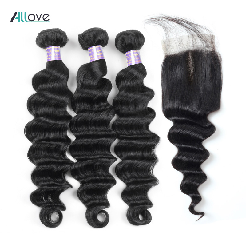 Allove Loose Deep Wave Bundles With Closure Peruvian Hair Bundles With Closure Non Remy 100% Human Hair Bundles With Closure