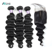 hot deal buy allove loose deep wave bundles with closure peruvian hair bundles with closure non remy 100% human hair bundles with closure
