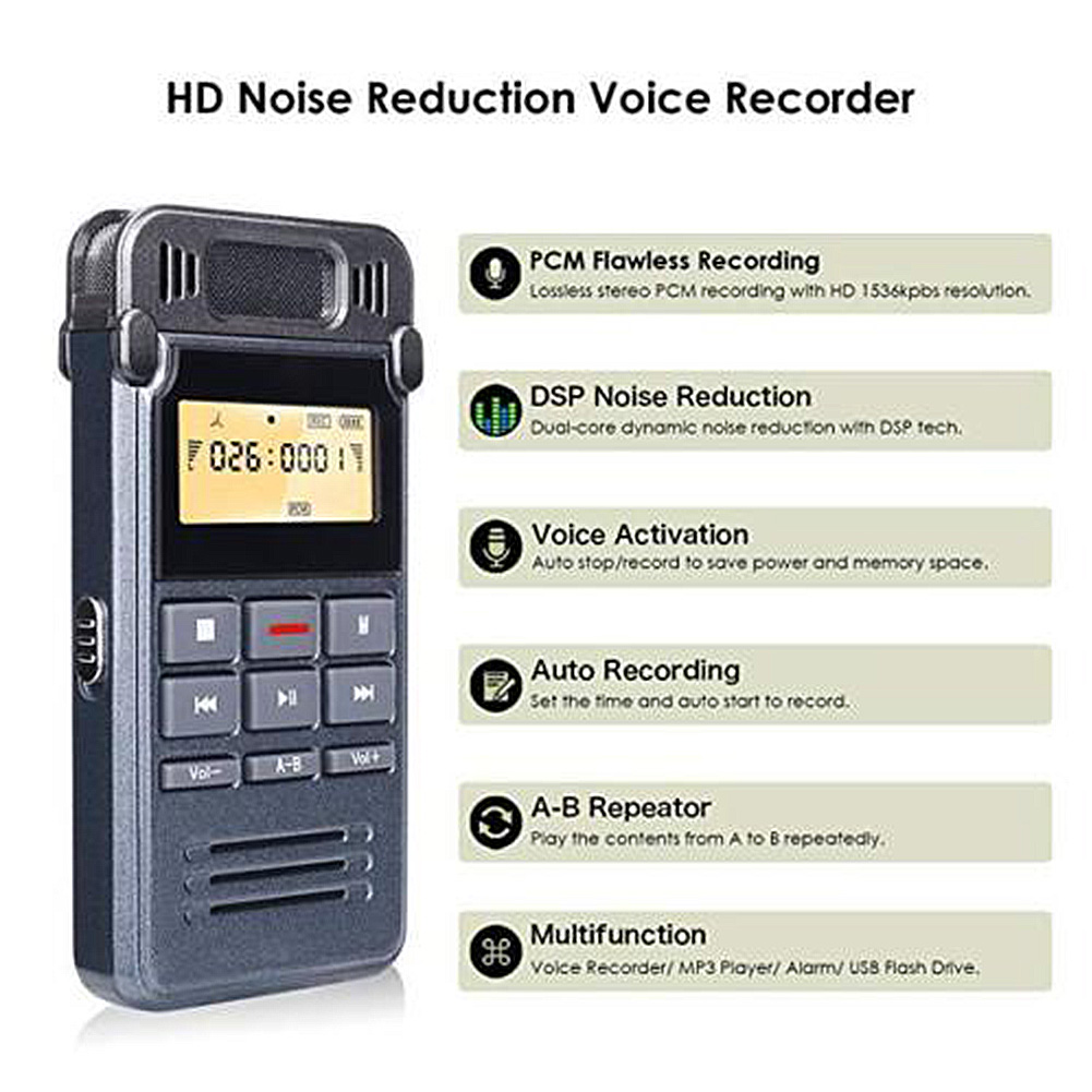 Warnen Digitale Vorträge Mp3 Player Diktiergerät 8 Gb Mini Noise Cancelling Stimme Recorder A-b Wiederholen Usb Lade Tragbare Sound Audio Unterhaltungselektronik