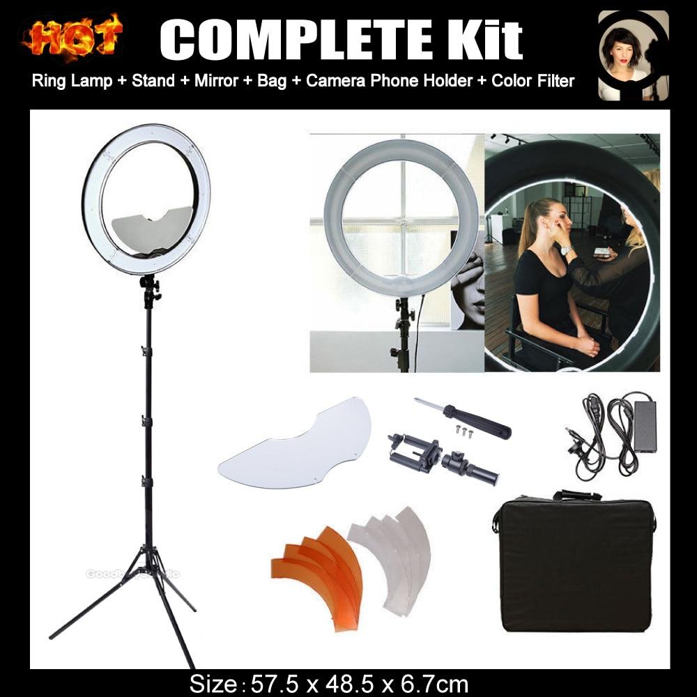"""Prix pour Studio Dimmable 48 cm 19 """"55 w 5500 k miroir led light ring avec 185 cm trépied stand pour photographie composent vidéo photo selfie"""
