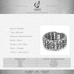 Image 5 - Fongten Vintage Cranio Largo Metal Biker Vichingo In Acciaio Inox Braccialetto di Fascino Grande Argent Degli Uomini del braccialetto Dei Monili