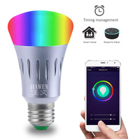 Jiawen E27 RGBW Diammable led wifi bulb Smart wifi LED lamp Wireless APP Remote Control Color Changing Light Bulb AC85 265V