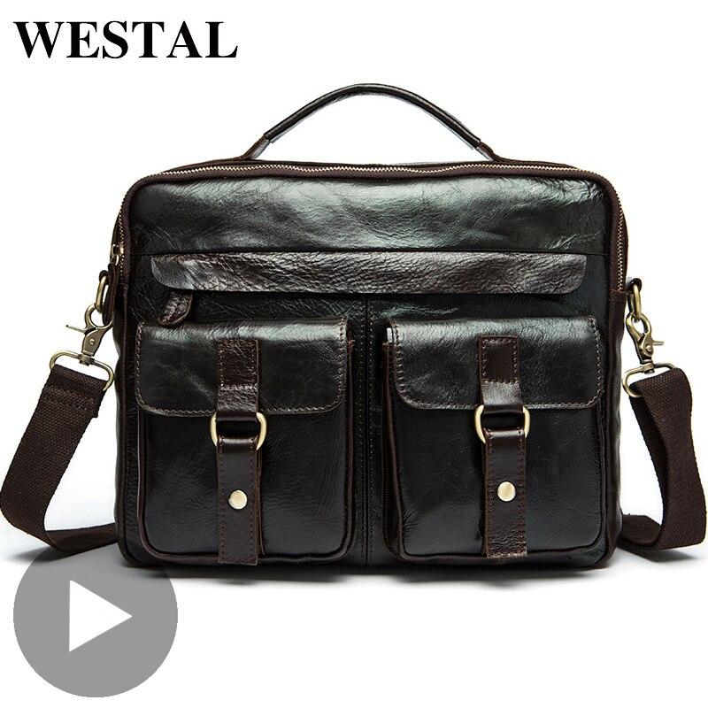 Westal Business Shoulder Messenger Women Men Bag Genuine Leather Briefcase For Document Handbag Male Female Big Laptop Tablet A4