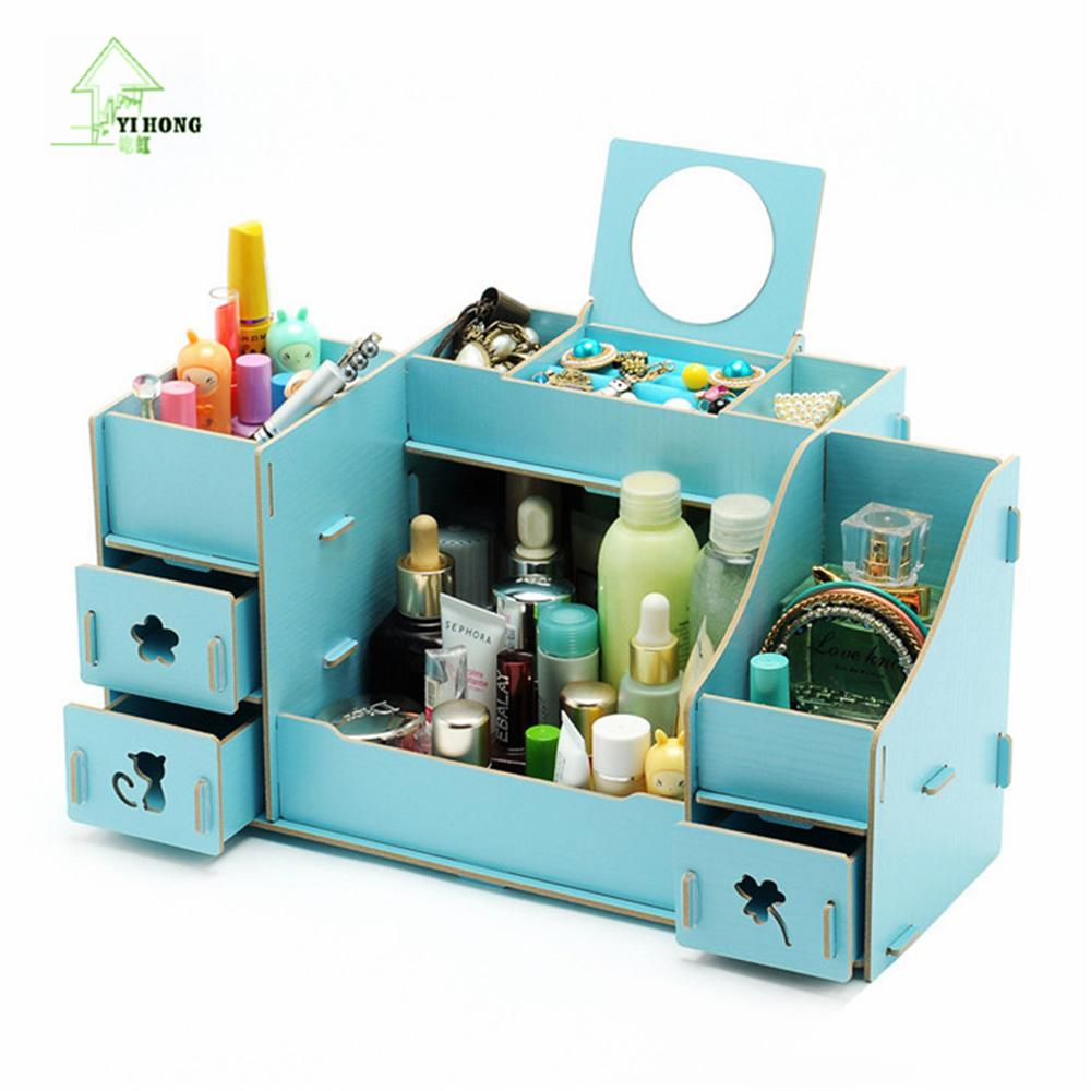 YIHONG Creative Diy Wooden Cosmetic Storage box Multi-function Cardboard Office Desktop Storage Boxes Makeup Organizer Box 1007c