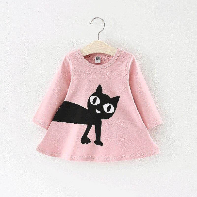 Children Casual Dress Cotton Cartoon Cat Print Long Sleeve Baby Dress A Lined Princess Dress For Baby Girls