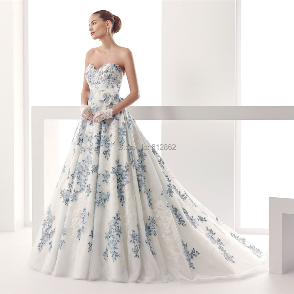 strapless sweetheart low back ball gown lace royal blue and white wedding dresseschina