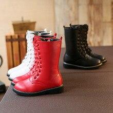 2016 Grandes Filles Automne Bottes High Top Enfants Chaussures Microfibre Coton Coréenne Princesse de Neige Grand Martin Chaussures Enfants Bébé de
