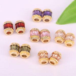 Image 3 - 20 Stks Fonkelende Gouden Kleur Crystal Micro Pave CZ Grote Gat Kralen Mode Spacer Kralen Voor Diy Sieraden Maken