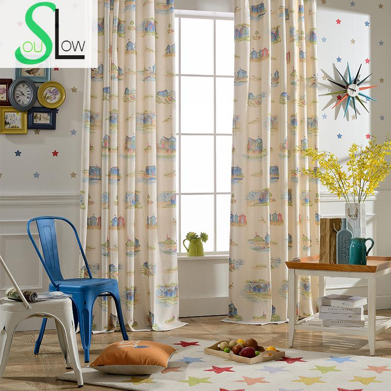 Slow Soul Light Yellow Holiday Simple Elegant Printing Jacquard Curtains Curtain For Living Room Cortinas Kitchen Bedroom Window In From Home