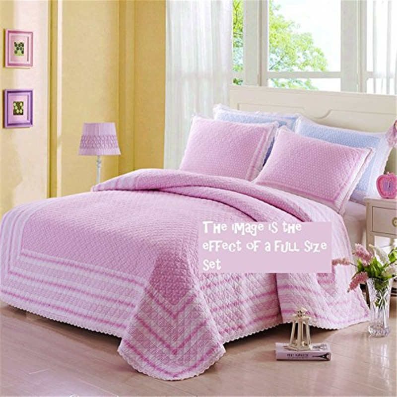 fadfay 100 cotton quilt sets pink polka dot bed quilt set kids comforter set twin full size. Black Bedroom Furniture Sets. Home Design Ideas