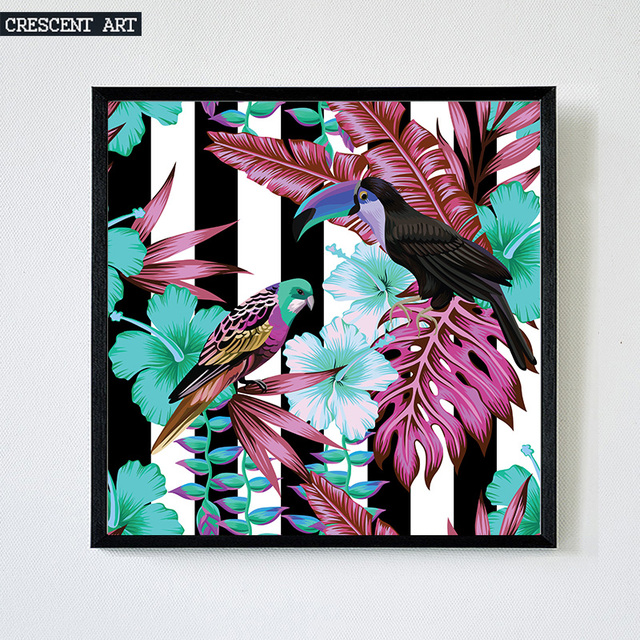 Summer Pop Colour Wall Art Tropical Wildlife Canvas Print Poster ...