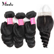 Meetu Brazilian Loose Wave Bundles With Closure Non Remy Human Hair 3 Bundles with Closure Brazilian Hair Bundles with Closure