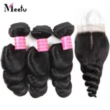 Meetu brasilianska lösvågknippen med stängning Non Remy Human Hair 3-paket med stängande brasilianska hårbuntar med stängning