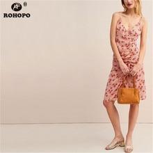 ROHOPO Spaghetti Strap Printed Bodycon Cute Dress Draped Fly Asymmetrical Mini Dress Streetwear Girl Vestido #UK9206 lace insert draped mini bodycon dress