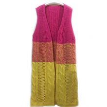 Women's Patchwork Cardigans Sweater Sleeveless Vest Patchwork Open Stitch Autumn Sweater Long Knitted Sweaters Coats P20