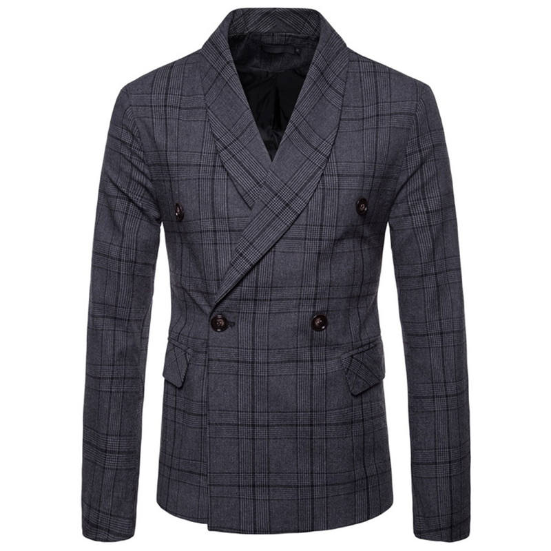 Men`s New Fashionable Checked Double-Breasted Suit Jacket Button Lattice Coat Casual Suit Jacket Men Slim Male Suit L15# (4)