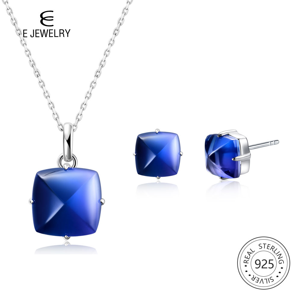 E Jewelry 925 Sterling Silver Pendant Necklace Stud Earrings Blue Synthesis Gradient Tourmaline Crystal  for Women Fashion GiftE Jewelry 925 Sterling Silver Pendant Necklace Stud Earrings Blue Synthesis Gradient Tourmaline Crystal  for Women Fashion Gift