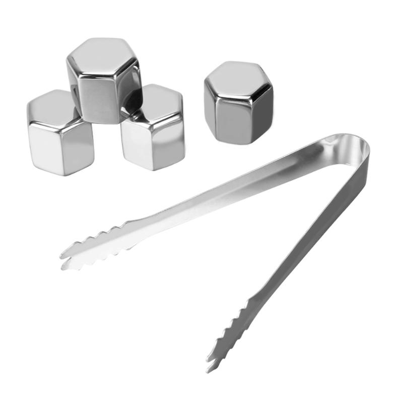 4pcs/set Stainless Steel 304 Whisky Stone Ice Cubes Whiskey Cooler Party Bar Wine Beer Juice Cooling Rocks with Clip