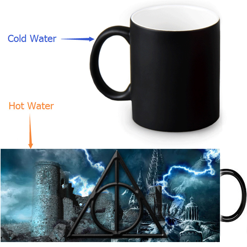 Beautiful Harry Potter <font><b>Deathly</b></font> Hallows symbol Magic Color Changing Coffee Mug Morphing Milk <font><b>Cups</b></font> 350ml/12oz <font><b>Tea</b></font> <font><b>Cup</b></font> Halloween