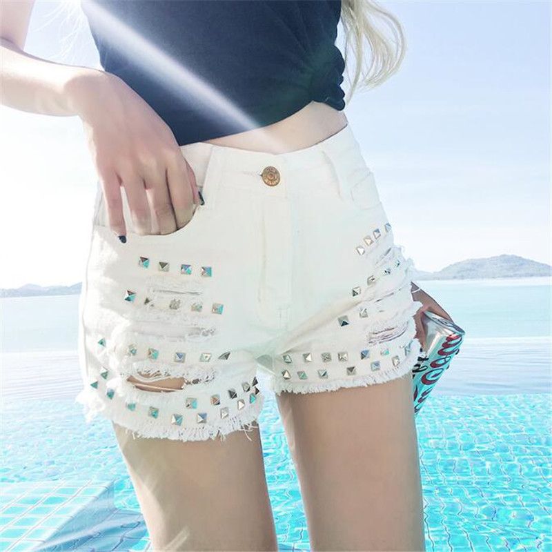 Danjeaner BF Style Women Black White High Waist Denim Shorts With Broken Hole Plus Size Sexy Summer Rivet Slim Jean Shorts Hot
